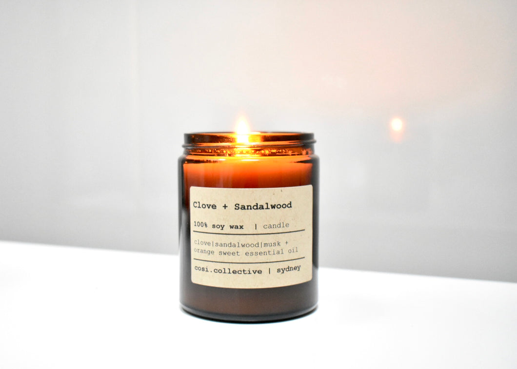 Clove + Sandalwood soy candle
