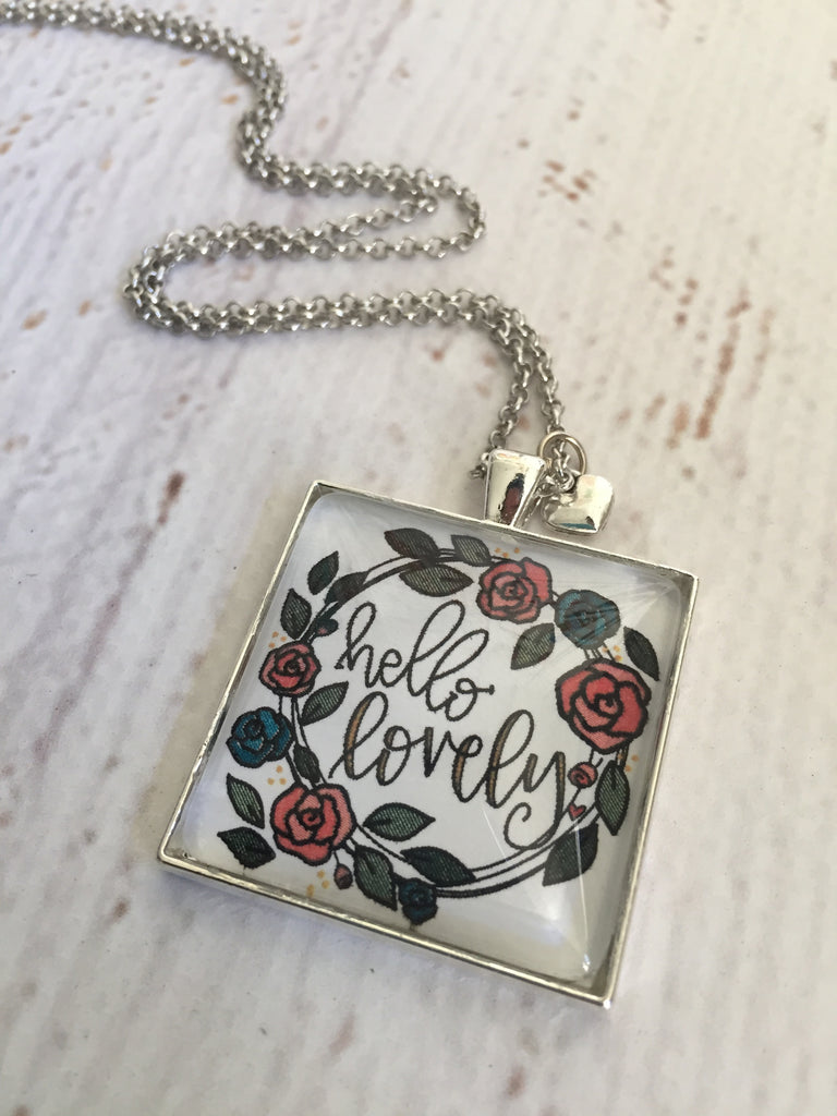 Hello Lovely -- Silver Large Square Pendant Necklace