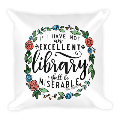Excellent Library -- Square Pillow