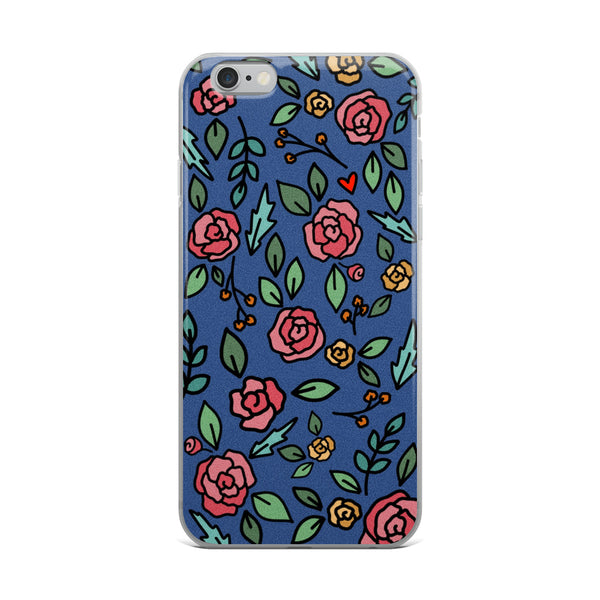 Navy Floral -- iPhone Case