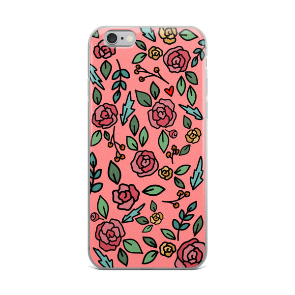 Coral Floral -- iPhone Case