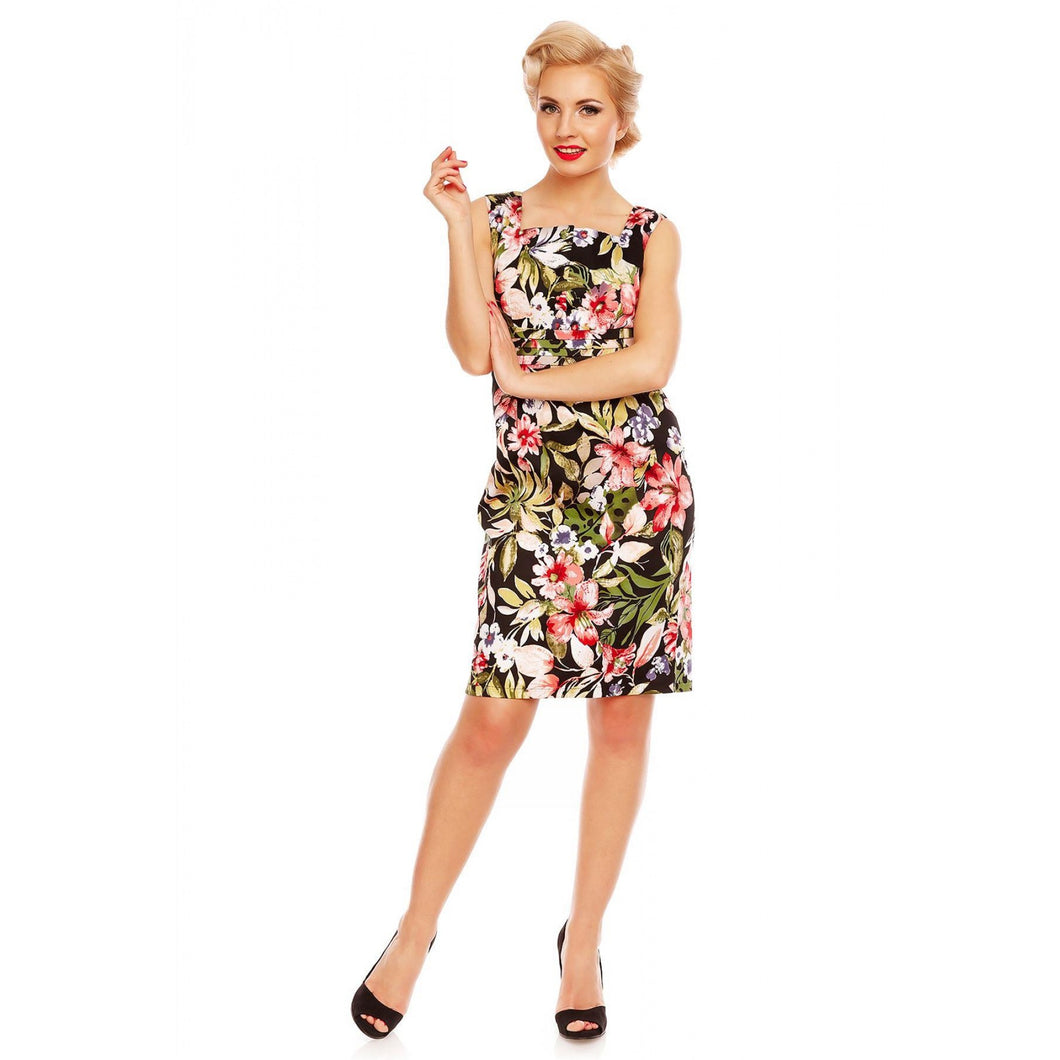 Olive Button Bust Pleated Dress in Tropical