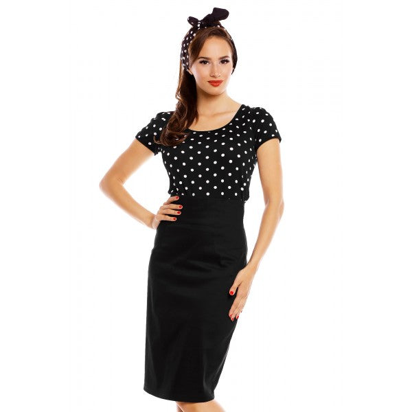 Faldo Chic Vintage Inspired Pencil Skirt Black