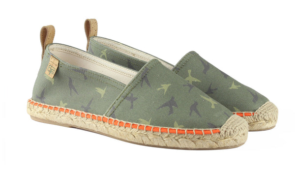 Camouflage Green Begur Classic Style Women's Espadrille Front