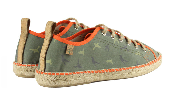 Camouflage Green Sitges Tennis Style Men's Espadrille Back