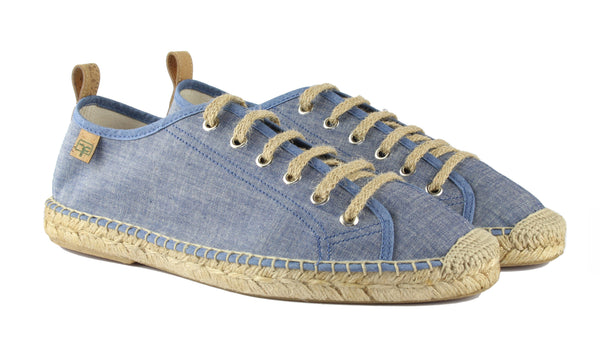 Denim Blue Sitges Tennis Style Men's Espadrille Front