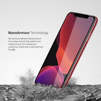 Nanoarmour technology iphone Xs case friendly 2.5D screen protector