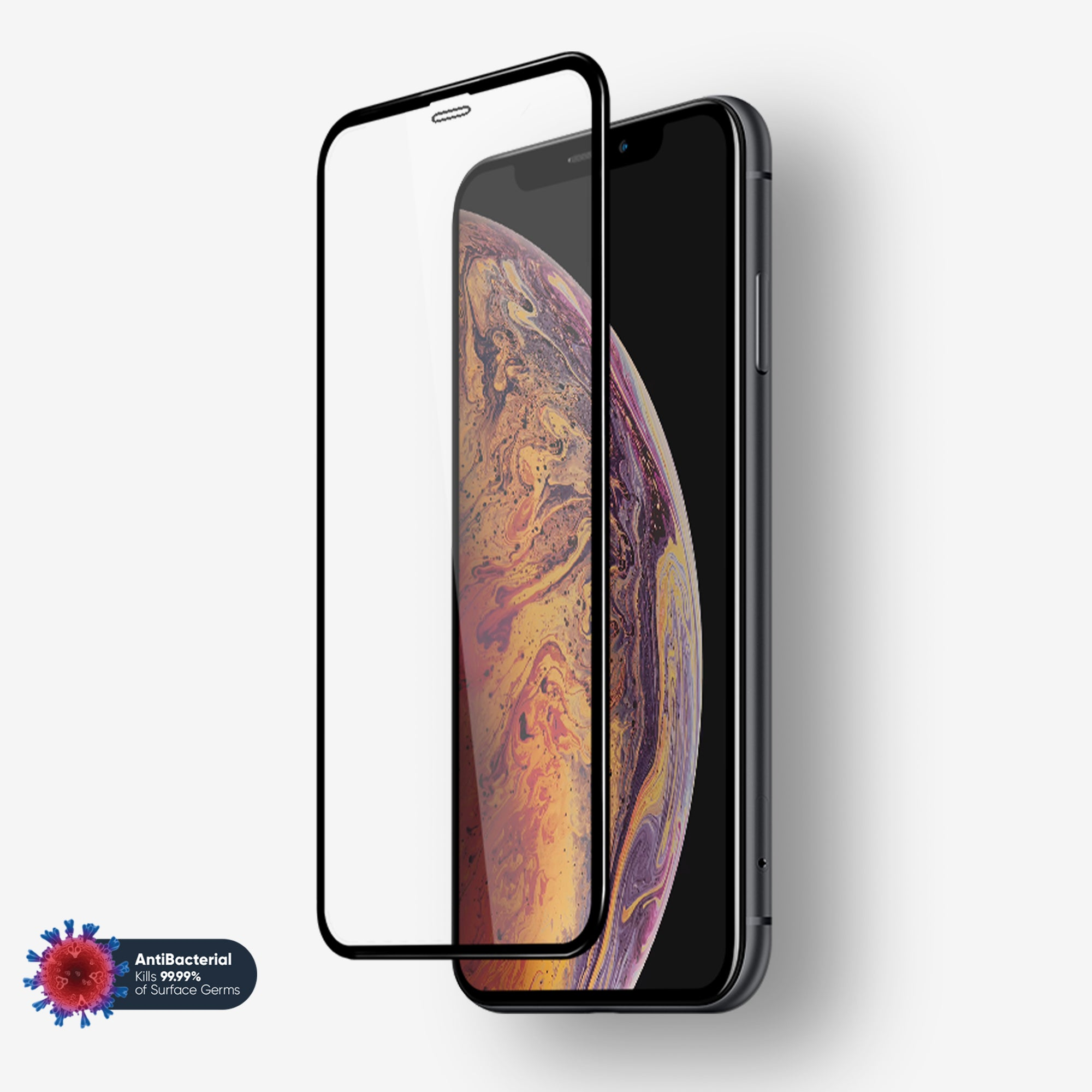 NanoArmour Anti-Microbial iPhone XS Max 3D Full Cover Tempered Glass Screen Protector