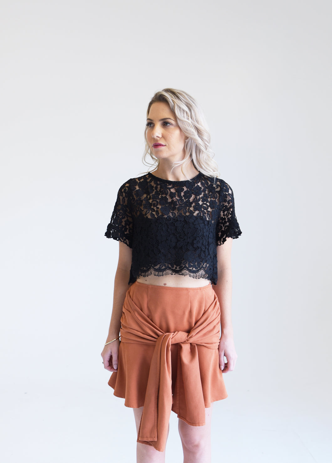 Faux Suede Sunset Orange Skirt