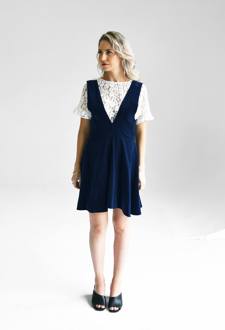 Darling Navy Cotton Velvet Dress