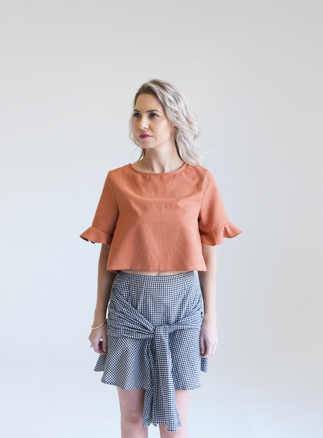 Faux Suede Sunset Orange Angel Crop