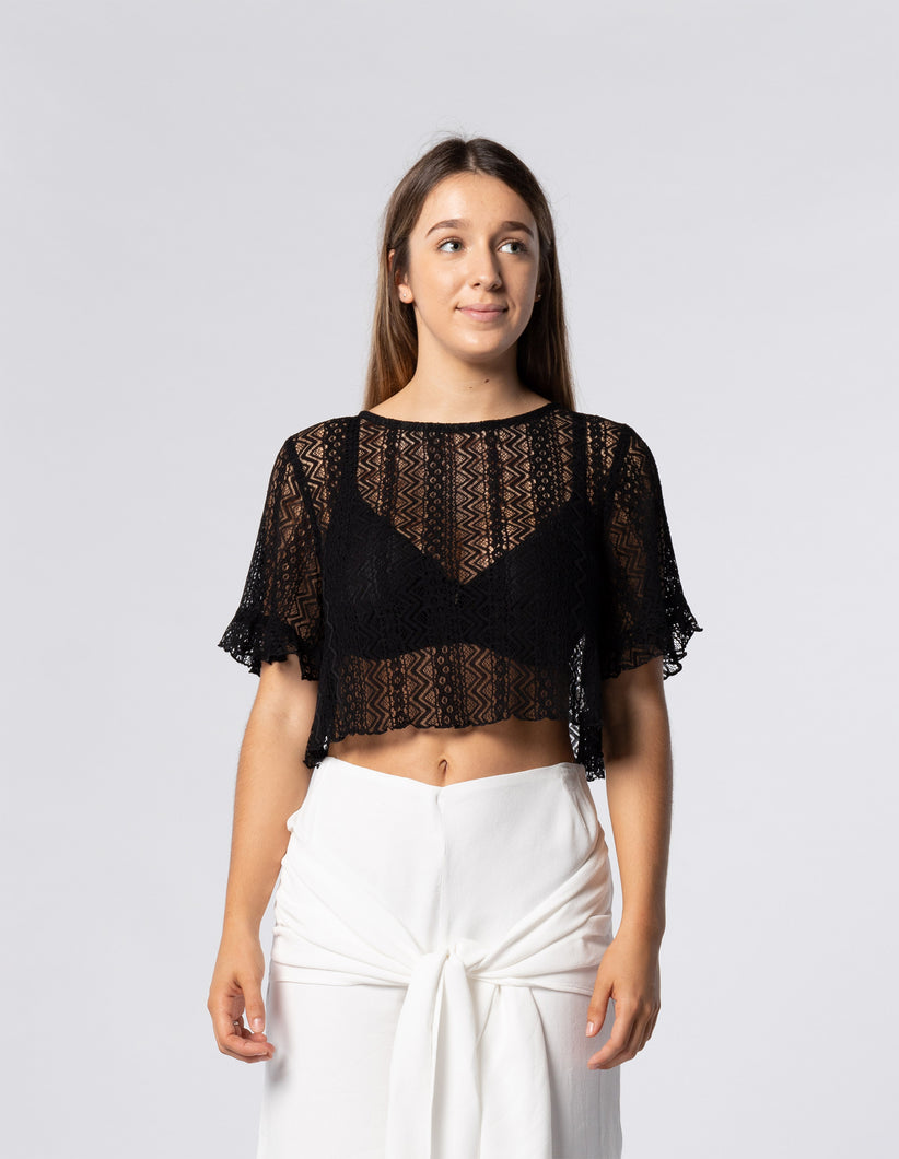 Open Back Valencia Lace Angel Crop