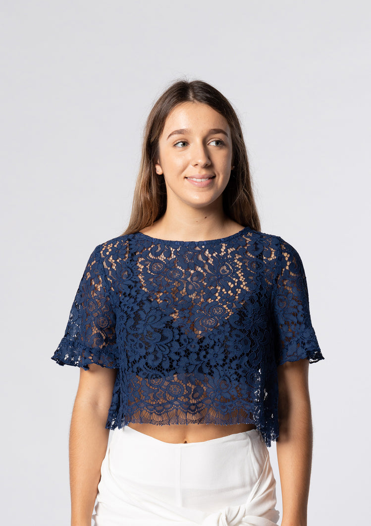 Open Back Darling Navy Lace Angel Crop