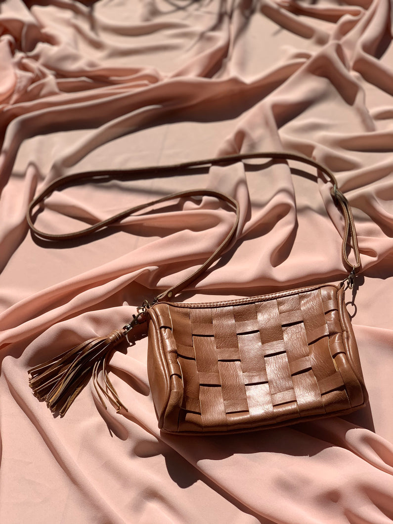 Woven Leather Bag in Tan by Stella Seminyak