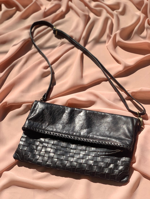 Woven Leather Bag in Black by Stella Seminyak
