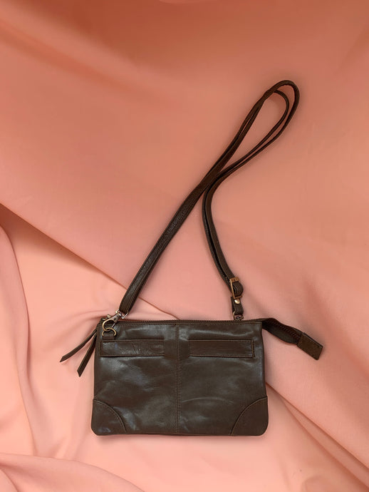 Double Zipper Leather Bag in Dark Olive by Stella Seminyak