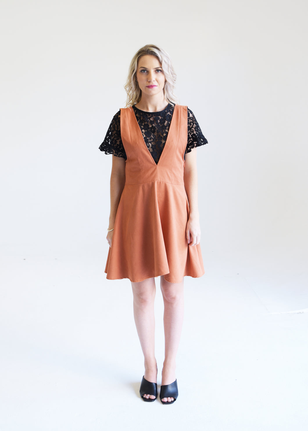 Faux Suede Sunset Orange Dress
