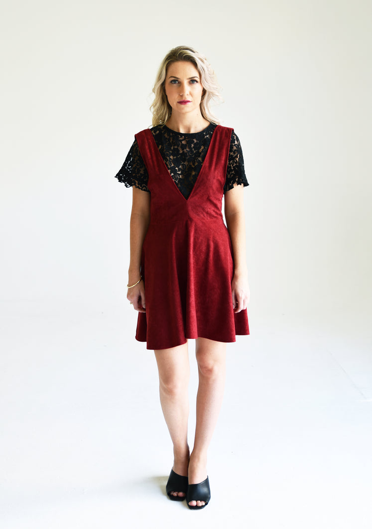 Wine Cotton Velvet Dress