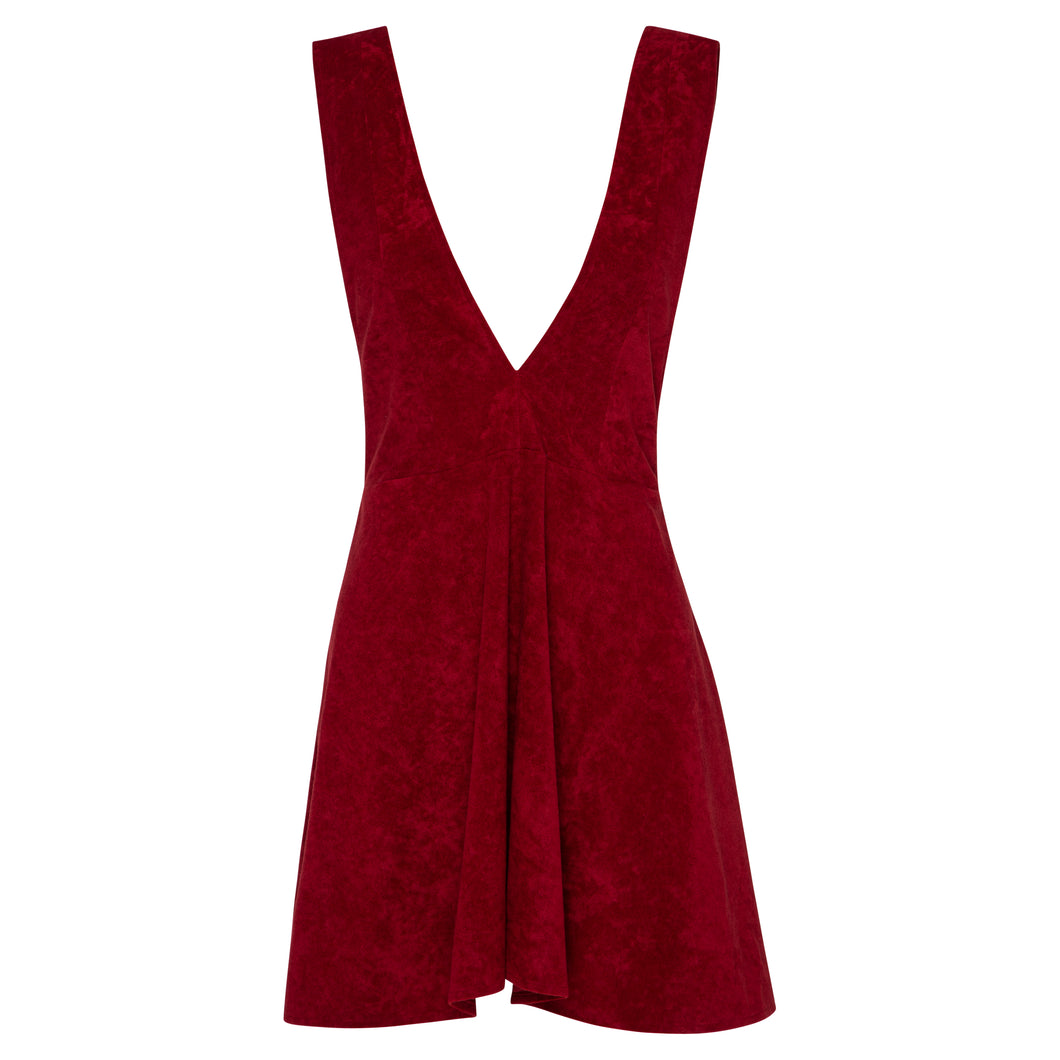 Wine Cotton Velvet Pinafore Dress