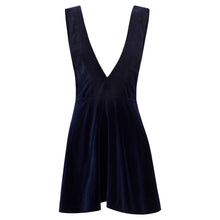 Darling Navy Cotton Velvet Pinafore Dress