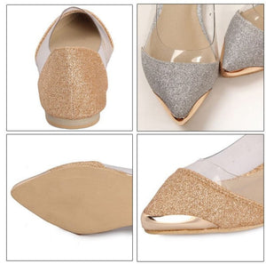 BYEARE paillette shallow mouth single shoes Pointed Toe Ballet Flats