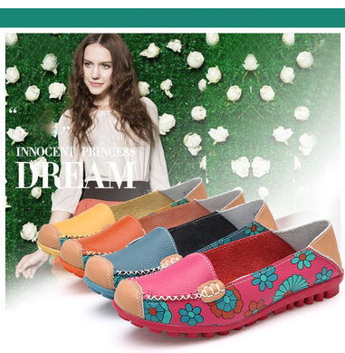 STAINLIZARD PU Leather Casual Floral Walking Fashion Brand Loafers