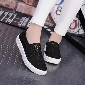 fashionable high quality mesh breathable new arrival floral ladies flats