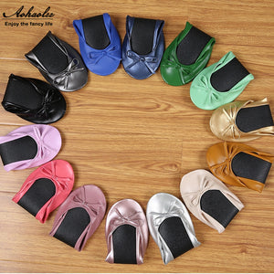 Aohaolee Ballet Flats Portable Fold up Ladies Comfortable Soft Ballerina