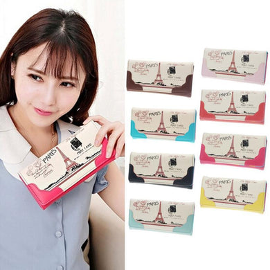 Xiniu Cute Print Leather Long Button Wallet Card Holder