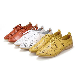 HTUUA Genuine Leather Woman Breathable Waterproof Soft Bottom Flats