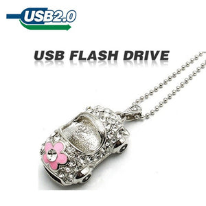 TECHKEY Silver crystal car rectangle memory stick