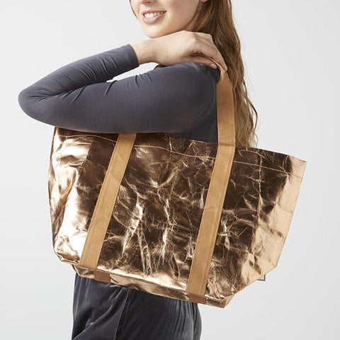 Sourced By Oxfam, My Paper Tote accessories made from washable paper, help beat poverty, rose gold metallic paper tote bag