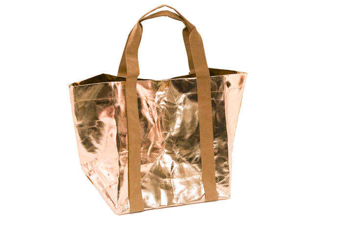 My Paper Tote bags and accessories made from washable paper. The paper rivals leather for strength and durability. It is vegan, eco friendly fashion. Bag, tote, Metallic, beach bag, Rose Gold