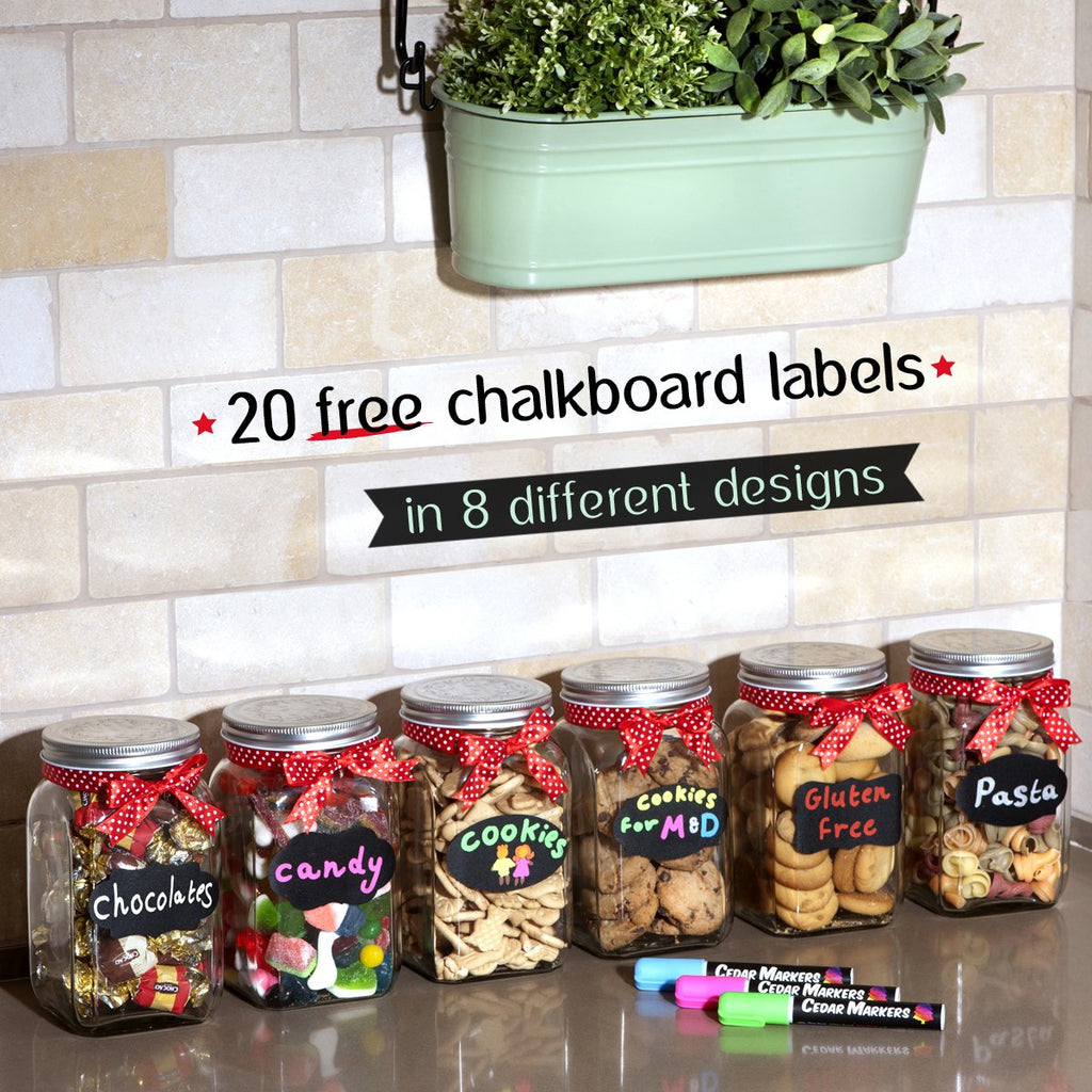 Liquid Chalk Markers. 8 Pack with Free 20 Chalkboard Labels
