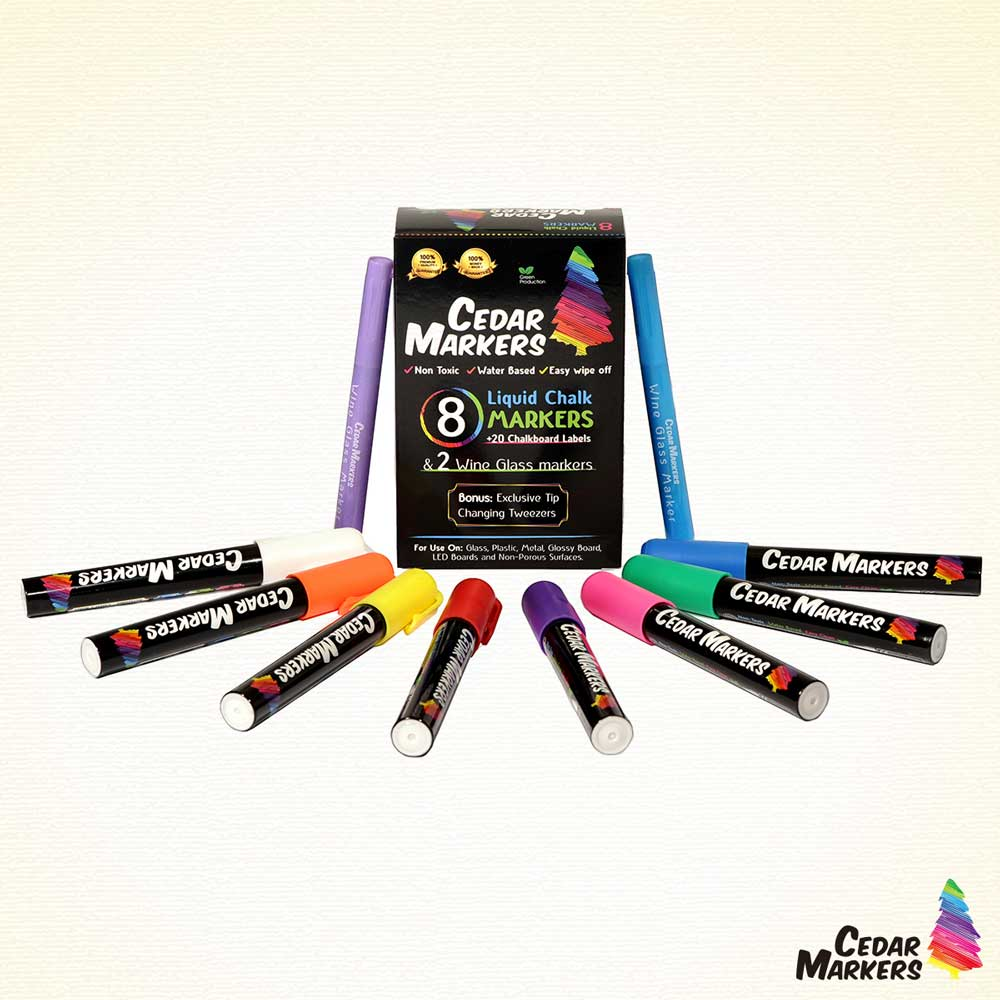 Cedar Markers Liquid Chalk Markers 8 Pack (2 Pack)