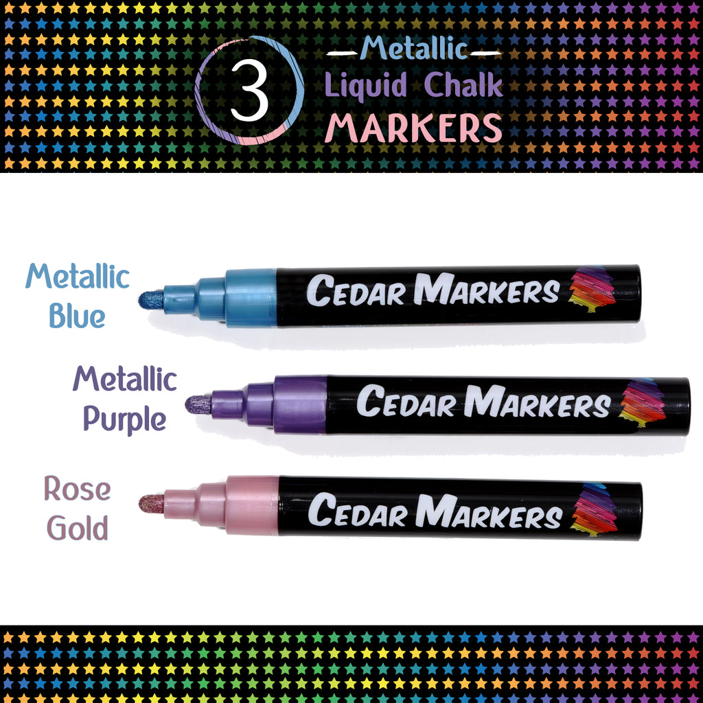 3 Metallic Chalk Markers in spectacular shades