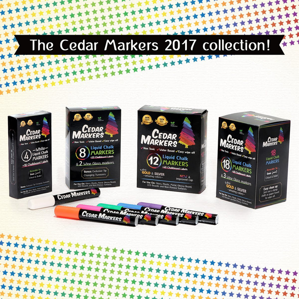 Cedar Markers Liquid Chalk Markers 12 Pack (2 Pack)