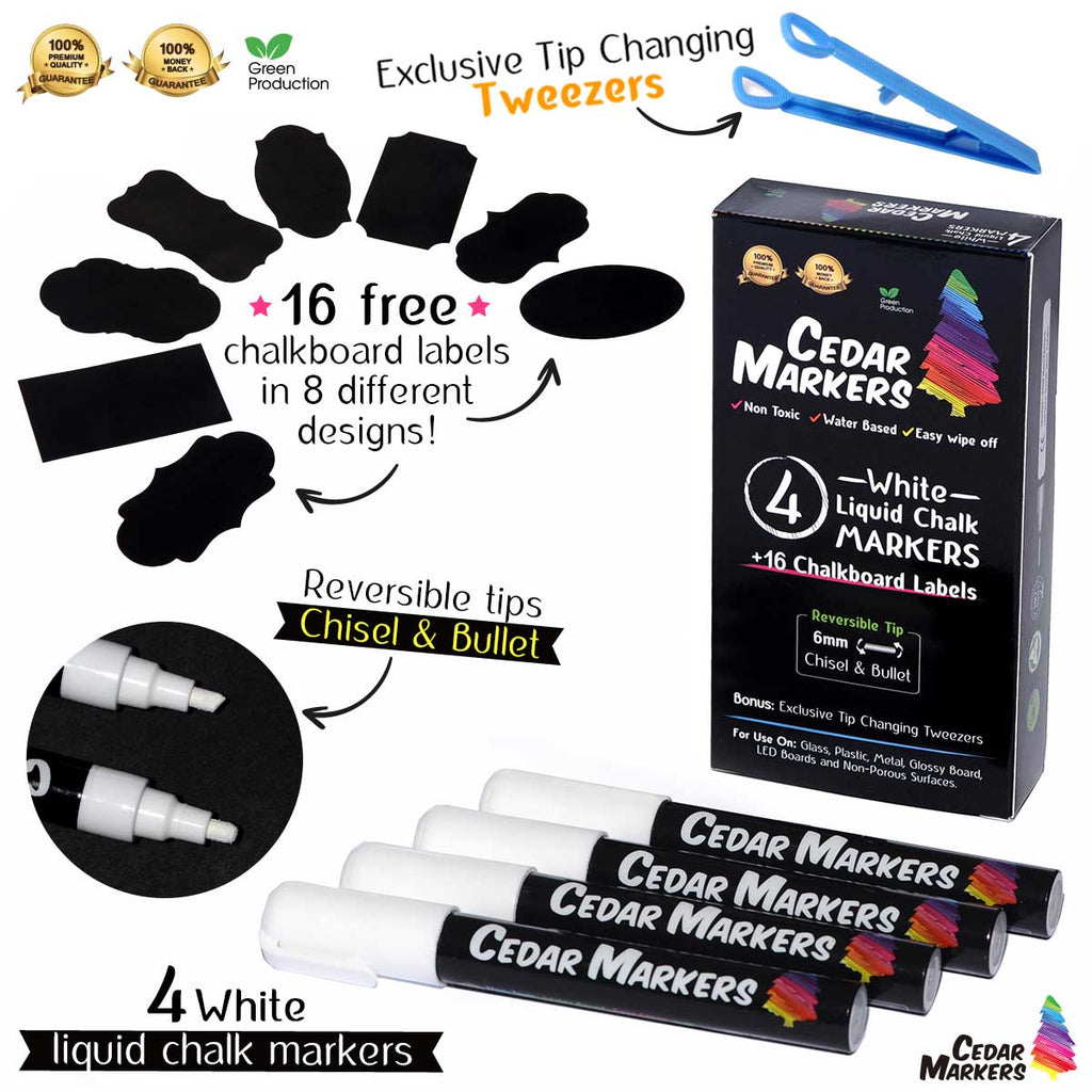 Liquid Chalk Markers. 4 White Pack with Free 16 Chalkboard Labels