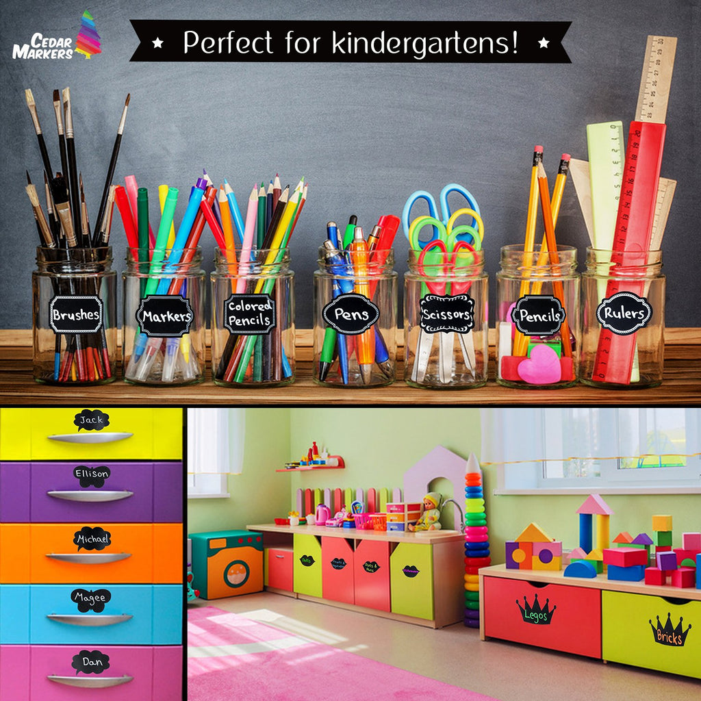 Chalkboard Labels. 124 Reusable stickers in 24 Designs and a White Marker