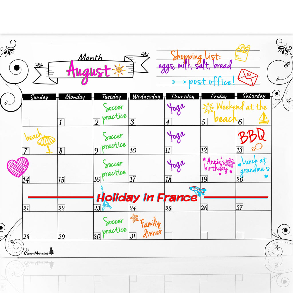 White Magnetic Calendar and Erasable shopping list