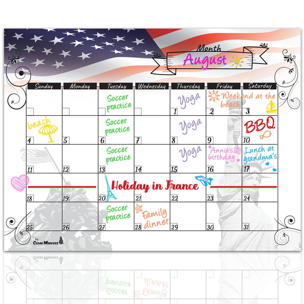 American Flag Magnetic Calendar and Shopping list