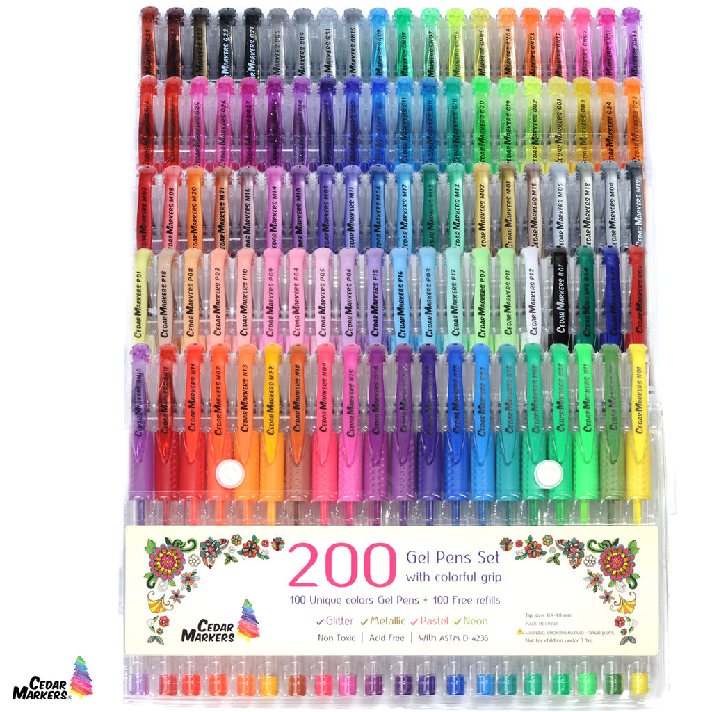 Gel Pen Refills. 100 No Duplicates Colored Units. Numbered Cartridges