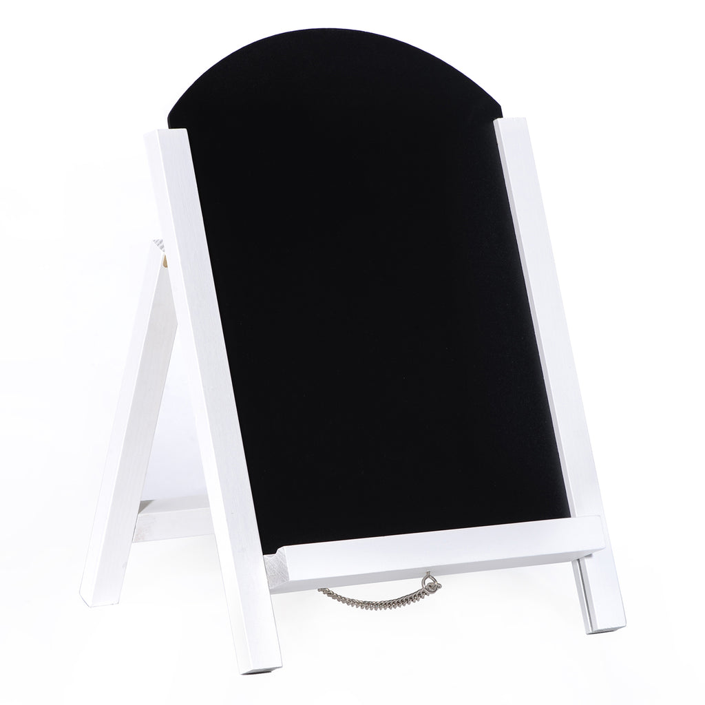 "15""x10"" Arc Shaped Wooden White Frame Chalkboard"