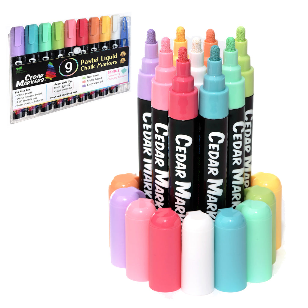 Liquid Chalk Markers. 9 Pastel Colors Pack