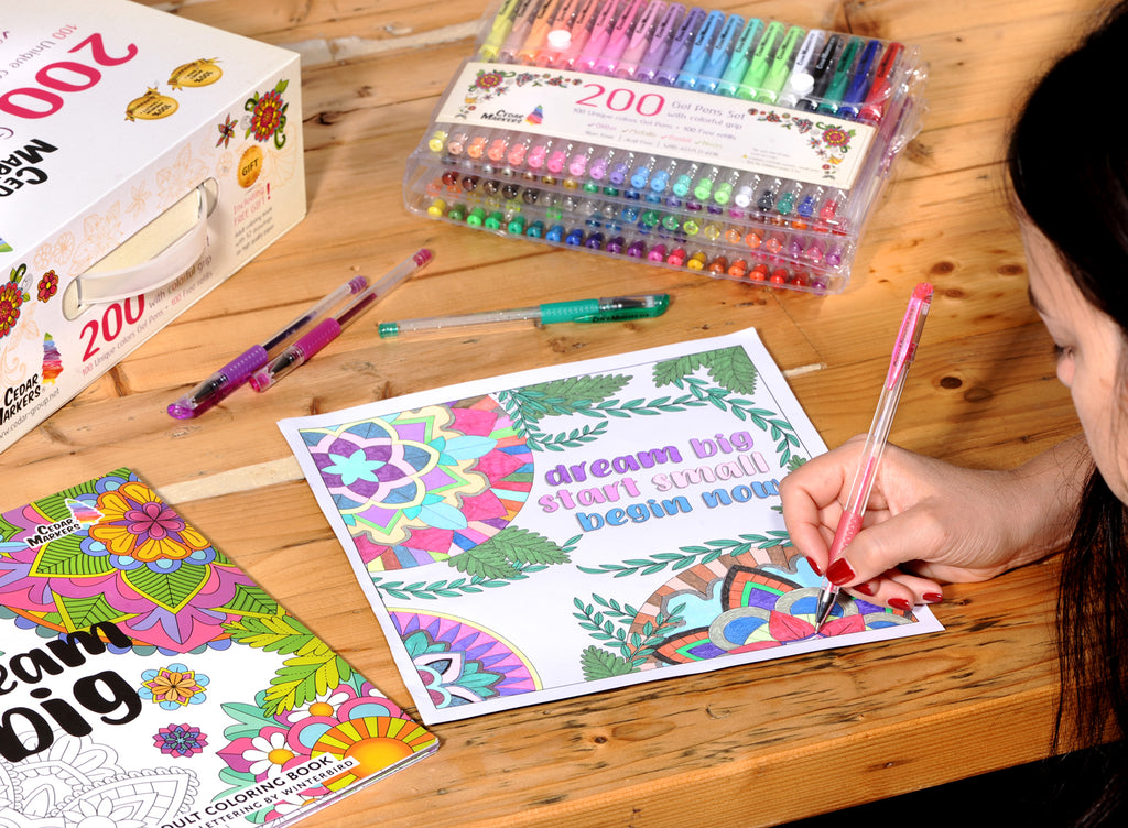 Gel Pens. 200 pcs Set 100 Pens Plus 100 Refills and a Free Adult Coloring Book
