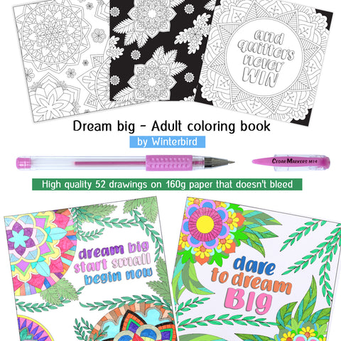 adult coloring book, gel pens