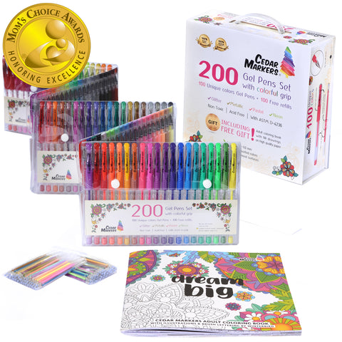 gel pens set wins gold medal, cedar markers, gel pens, moms choice awards