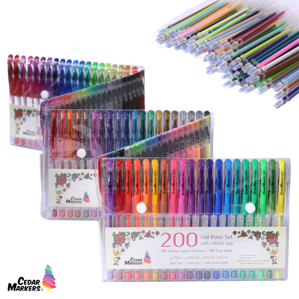 Gel Pens. 200 pcs Set 100 Pens Plus 100 Refills no Color Duplicates
