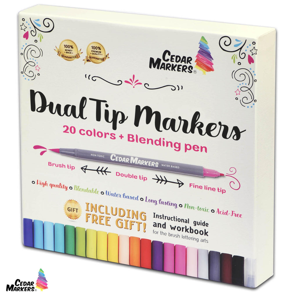 DUAL TIP MARKERS. 21 Calligraphy Pen Set with Free Hand Lettering Guide Book