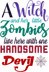A Witch And Her Little Zombies SVG